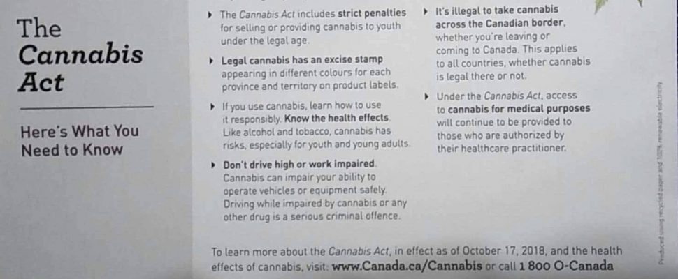 A snapshot of the cannabis information postcard that is being sent out to Canadians ahead of October 17, 2018. (Submitted photo)