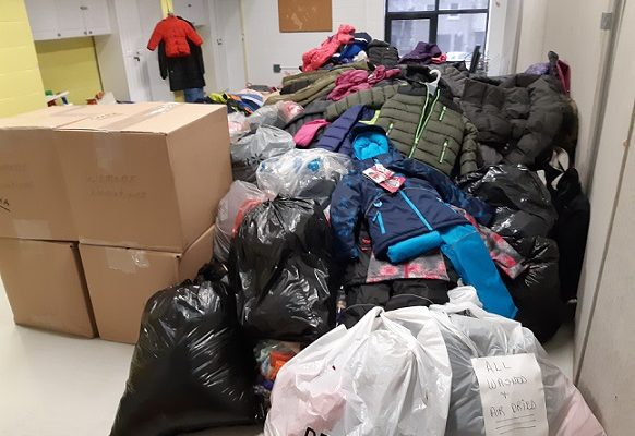 Donations for the Koats for Kids clothing drive fill a room at the Boys and Girls Club of London, October 17, 2018. Photo submitted.