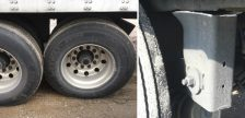 """Evidence of a """"major defect"""" as documented by Ontario Provincial Police during a traffic stop on the Highway 401. October 13, 2018. (Photo courtesy of Chatham-Kent OPP)"""