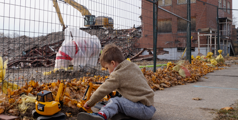 Three-year-old Corban Burn plays with his excavator outside the site of the old Sarnia General Hospital. November 12, 2018. (Photo by Colin Gowdy, BlackburnNews)