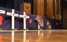 Crosses set up at the CKSS Remembrance Day ceremony honouring the soldiers who sacrificed their lives fighting for Canada. November 9, 2018. (Photo by Greg Higgins)
