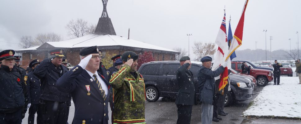 Remembrance Day ceremony at Aamjiwnaang First Nation. November 11, 2018. (Photo by Colin Gowdy, BlackburnNews)