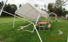 Damaged shelters at the Bayfield Croquet Club. Photo courtesy of Jerry Selk.