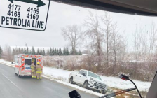 A single vehicle crash in Petrolia at Centre St. and Discovery Line . November 13, 2018. (Photo by Petrolia & North Enniskillen Fire Department)