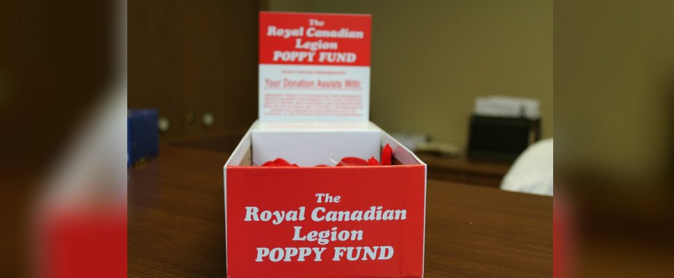 Royal Canadian Legion poppy honour box. (File photo by Simon Crouch)