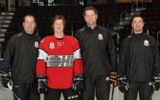(Left to Right) David Legwand, Ryan McGregor, Derian Hatcher, and Brad Staubitz ahead of game 3 in the Canada-Russia series. November 8, 2018. (Photo by Metcalfe Photography)