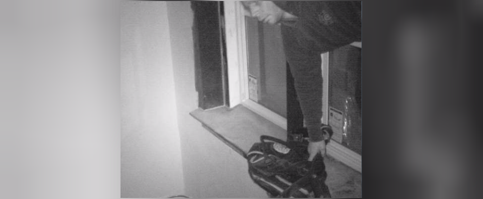 Picture of suspect entering a property in Chatham & stealing tools. (Photo courtesy of Chatham-Kent Police Service)