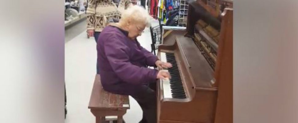 Fern Bezanson playing a piano at Value Village in Chatham. (Video courtesy of Michelle Mainwarning)