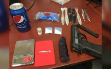 A replica gun, throwing knives and crystal meth was found on a driver and his passenger by police in Chatham. November 29, 2018. (Photo courtesy of Chatham-Kent police)