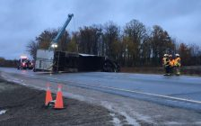 An overturned tractor trailer blocked the eastbound lanes of the 401 near Graham Road on Friday, Nov. 2. Photo from Twitter @OPP_COMM_WR