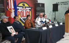 Trevor Miller, Jock Hill, Six Nations of the Grand River Band Council representative Sherri-Lyn Hill Pierce, Six Nations Acting Deputy Chief Darren Montour, OPP Dective Inspector Peter Liptrott, and OPP Constable Max Gomez at a news conference, November 15, 2018. Photo from OPP periscope video.