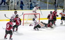 Nolan DeGurse of the Sarnia Legionnaires celebrates after scoring a goal against Chatham. November 30, 2017. (Photo by Shawna Lavoie)
