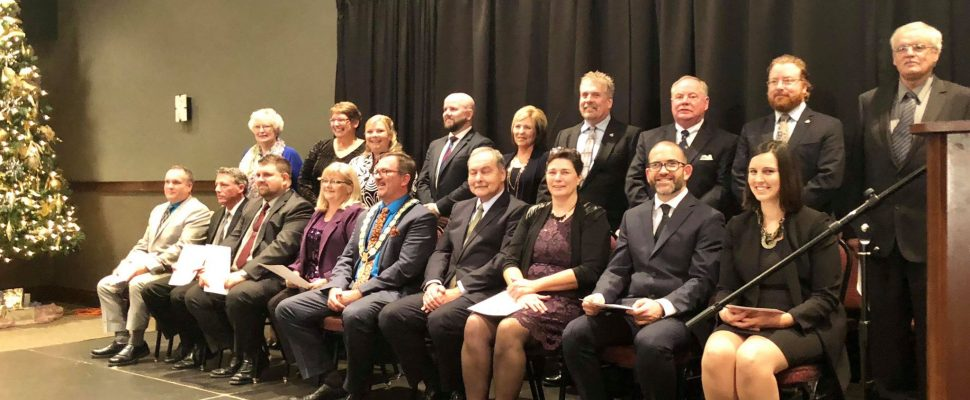 New members of council are sworn in for the 2018-2022 term at the John D Bradley Convention Centre in Chatham, December 3, 2018. (Photo by Allanah Wills)