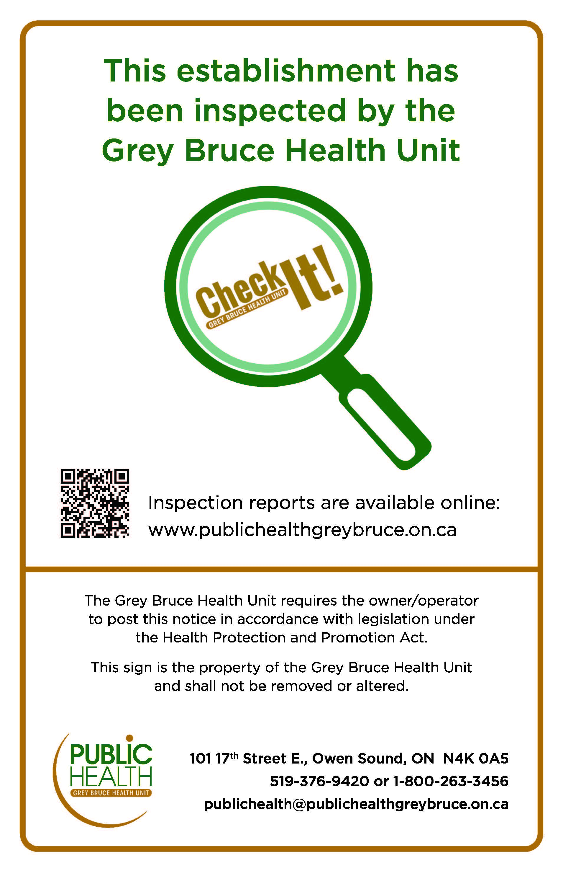 Find health inspection reports for many Grey Bruce businesses