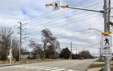 A pedestrian crossover on Michigan Avenue near Blackwell Road. November 10, 2018. (Photo by the City of Sarnia)