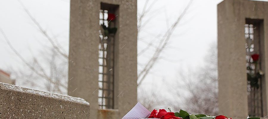 The University of Windsor holds a vigil for National Day of Remembrance & Action on Violence Against Women. Dec 6, 2018. (Photo courtesy of UWindsor)