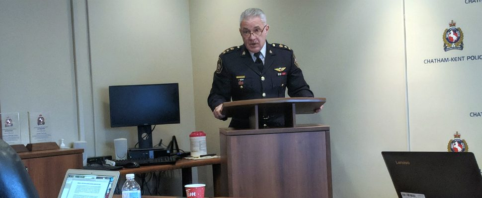 Chatham-Kent Police Chief, Gary Conn, addresses the board at the December meeting. December 19, 2018. (Photo by Greg Higgins)