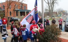 Flag raising ceremony for Rogers Hometown Hockey at the Chatham-Kent Civic Centre on December 12, 2018. Photo by Allanah Wills)
