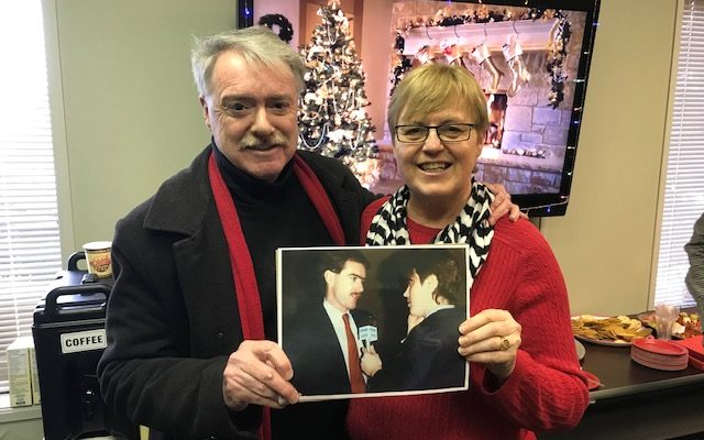 Mayor Mike Bradley and Lee Michaels holding a picture of the two of them from municipal election night in 1988. December 18, 2018. (Photo my Melanie Irwin, BlackburnNews)