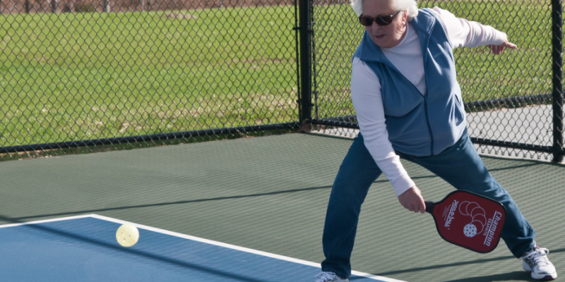 A woman playing pickleball. January 24, 2017. (Photo by Ron B from flickr)