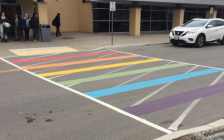 The rainbow coloured walkway at Northern Secondary in Sarnia. (BlackburnNews file photo)
