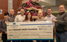 Employees from Shell Sarnia presenting Bluewater Health with a cheque for $83,000. December 21, 2018. (Photo by BWH)