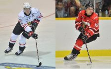 Nick Suzuki (left) and Markus Phillips (right) of the Owen Sound Attack. Photos by Terry Wilson / OHL Images.