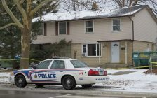 London police investigate a fatal stabbing at 740 Notre Dame Dr., January 7, 2019. (Photo by Miranda Chant, Blackburn News)