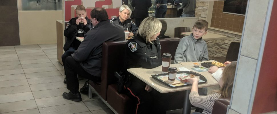 Parents brought their kids out to the Coffee with a Cop event in Chatham so they can get better antiquated and more comfortable with law enforcement. January 23, 2019. (Photo by Greg Higgins)