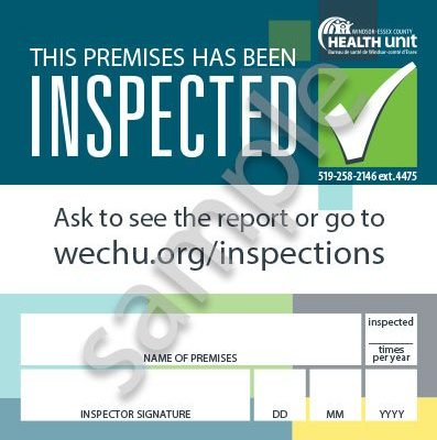 New inspection sign at Windsor-Essex County Health Unit. Jan 10, 2019. (Photo courtesy of WECHU)