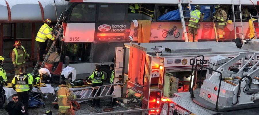 Emergency crews respond to a deadly double-decker bus crash at Westboro Station in Ottawa, January 11, 2019. (Photo courtesy of Harry's Queen via Twitter)