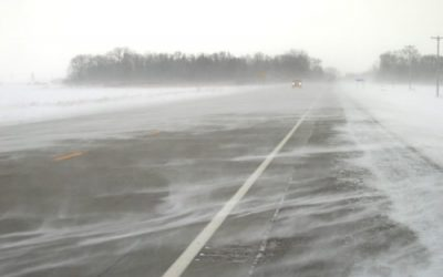 Poor road conditions in snow squalls.