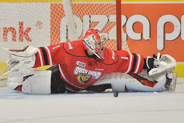 Mack Guzda of the Owen Sound Attack. Photo by Terry Wilson / OHL Images.
