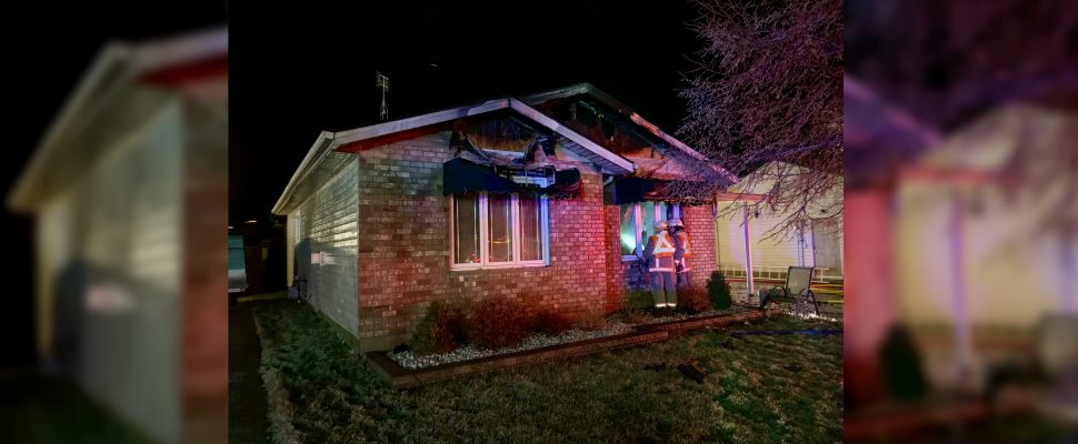 The scene of a house fire on Massey Drive in Tilbury. January 10, 2018. (Photo courtesy of Chatham-Kent Fire and Emergency Services)