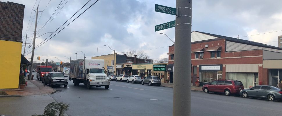The intersection of Wyandotte Street East and Lawrence road. (Photo by Allanah Wills)