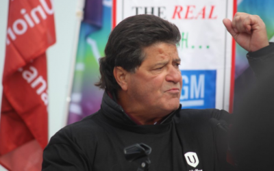 Uniform National President Jerry Dias speaks for GM Oshawa workers at Dieppe Gardens, Windsor, January 11, 2019, during the Solidarity period. Photo by Mark Brown / Blackburn News.
