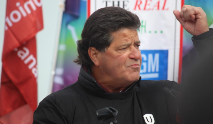 Jerry Dias, Unifor national president, speaks at the solidarity rally for GM Oshawa workers at Dieppe Gardens, Windsor, January 11, 2019. Photo by Mark Brown/Blackburn News.