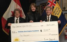 Left to right: Irene Williams , Zone A-3 Commander, Jodi Maroney , executive director of Chatham-Kent Hospice Foundation and Linda Heyninck , president of Royal Canadian Legion Branch 642.
