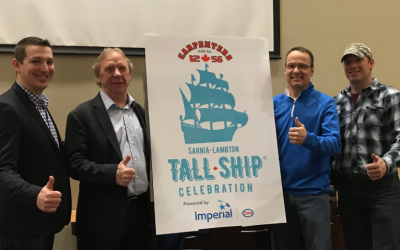 (From left to right) Ves Suvajac and Bob Schenck from Carpenters 1265, alongside James Ritchie and Paul Armstrong from Imperial Oil. January 22, 2018. (Photo by the City of Sarnia)