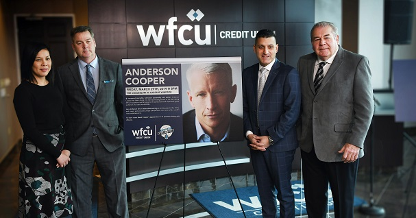 From left, Jhoan Baluyot, Manager of Public Relations and Communications, Caesars Windsor, Scott Jenkins, Director of Advertising, Caesars Windsor, Eddie Francis, President and CEO, WFCU Credit Union, and Marty Gillis, Chair, Board of Directors, WFCU Credit Union. (WFCU Credit Union Handout)