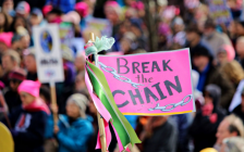 A women's march in Eugene, Oregon. January 20, 2018. (Photo by David Geitgey Sierralupe)