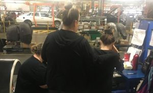 Photo of the sit-down protest at GM Oshawa courtesy of Unifor.