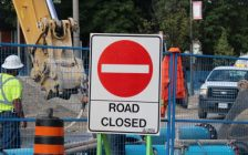 A road closed for road repairs. (File photo by Adelle Loiselle.)