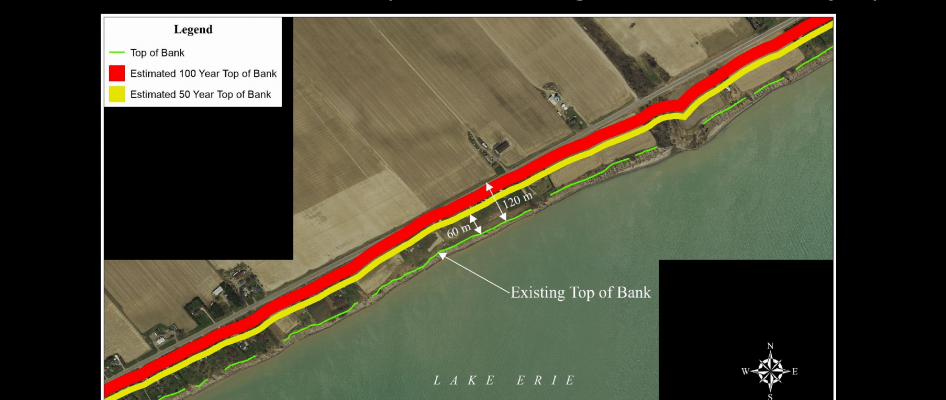 An estimated image showing where the Lake Erie shoreline will be in 50 and 100 years. (Photo via Zuzek Inc.)