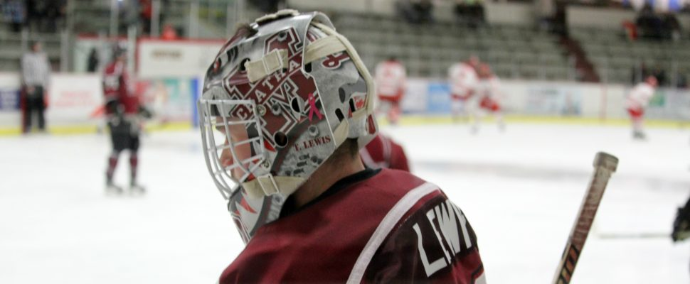 Chatham Maroons goaltender Tristan Lewis. January 2019. (Photo by Matt Weverink)