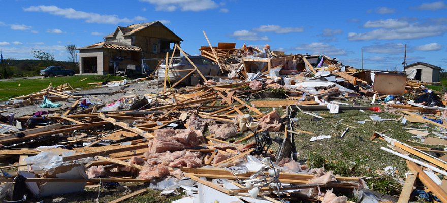 A home was destroyed when a tornado touched down in Dunrobin, September 21, 2018. Photo courtesy of www.mediarelations.uwo.ca
