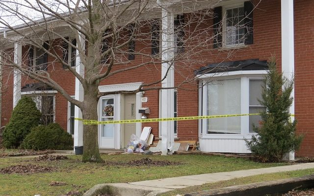 A home on Arbour Glen Crescent cordoned off by police after a man was hit with an arrow, February 5, 2019. (Photo by Miranda Chant, Blackburn News)