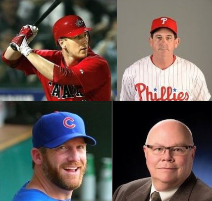 Clockwise from the upper left: Jason Bay, Rob Thomson, Gord Ash, and Ryan Dempster. Photos supplied by the Canadian Baseball Hall of Fame.