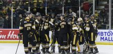 The Sting celebrate Jacob Perreault's shoot out winner vs Saginaw Feb. 18, 2019 (photo courtesy of Metcalfe Photography)