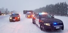 Police conduct an investigation following a fatal crash on Highway 401 in Oxford County, February 1, 2019. (Photo courtesy of the OPP)